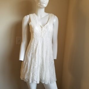 FREE PEOPLE Dress Embroidered White Lace Mesh